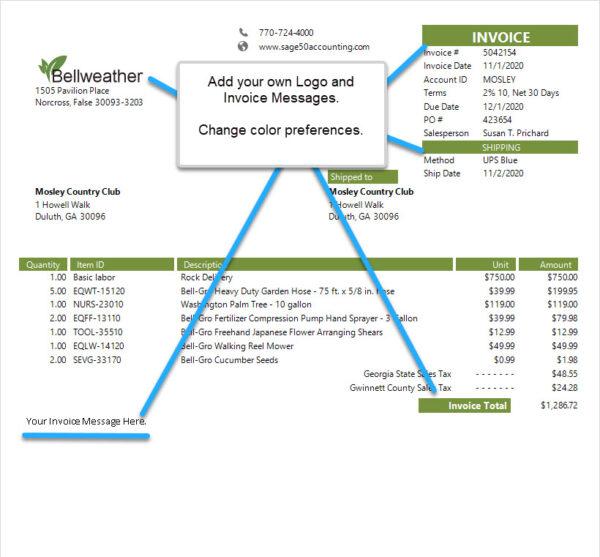 Sage 50 Simple Invoice Customizable