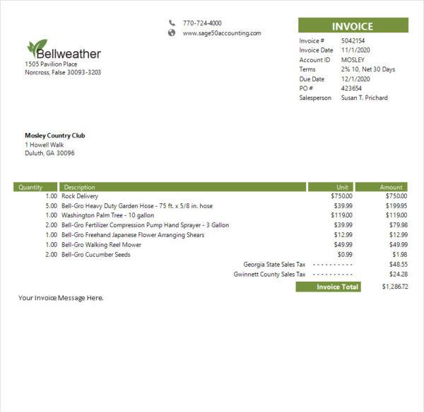 Sage 50 Simple Invoice Service