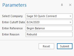 Sage 50 Inventory Evaluation Export Parameters