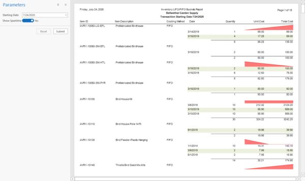 Sage 50 LIFO FIFO Inventory Bucket Report with Sparkline
