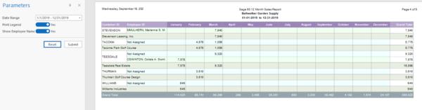 Sage50 12 Month Sales Report Sample 2