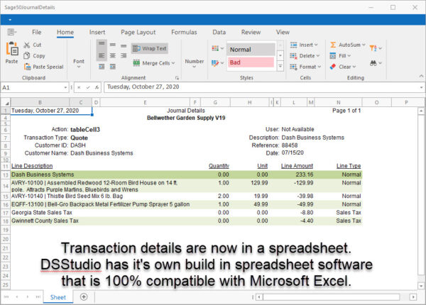 Sage 50 Audit Trail Report with Transaction Details Spreadsheet