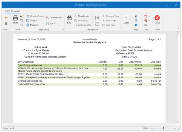 Sage 50 Audit Trail Report with Transaction Details Transaction Details
