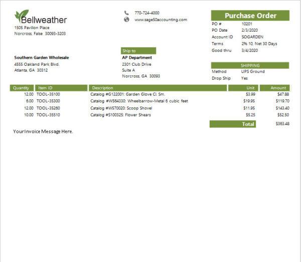 Sage 50 Simple Purchase Order Sample